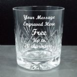 Crystal Whisky Glass, Personalised Engraved, ref CW01